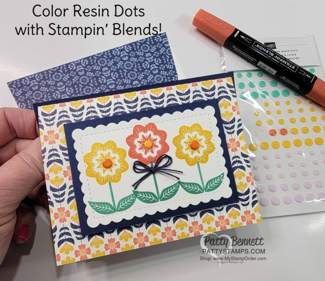 Stampin' UP! Sweet Symmetry designer paper easy trifold pocket card idea with Playing With Patterns Resin Dots. www.PattyStamps.com