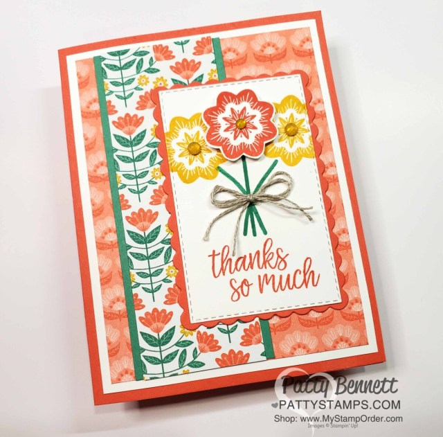 In Symmetry Stampin' Up! designer paper quick and easy card idea with stamping tip for photopolymer stamps. www.pattystamps.com