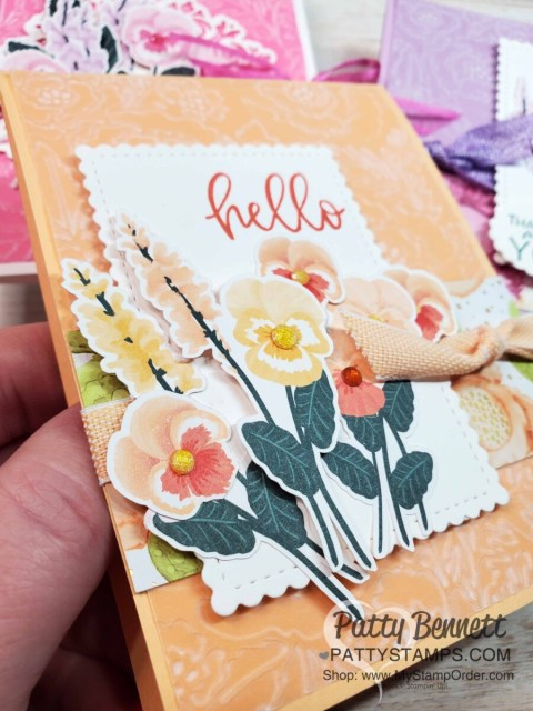 Pansy Petals designer paper from Stampin' Up! with Pretty Flowers embossing folder and Pale Papaya Shimmer Vellum card idea. www.PattyStamps.com