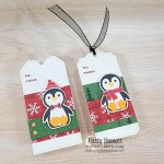 Penguin Place bundle Christmas to from tag ideas featuring Peaceful Prints designer paper and Tailor Made Tags. Stampin