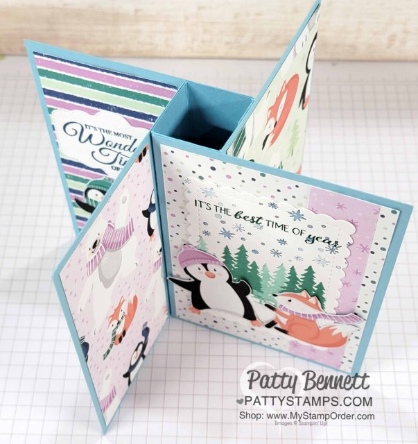 Pinwheel Tower Card featuring Stampin' UP! Penguin Place bundle and Penguin Playmates Sale-a-Bration paper! by Patty Bennett www.PattyStamps.com