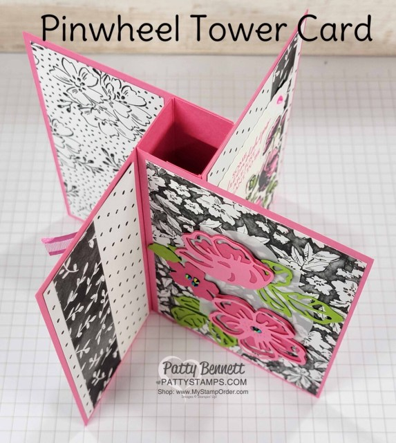 Pinwheel Tower Card created with Stampin' UP! Sale-a-Bration Beautifully Penned DSP & Summer Shadows dies. www.PattyStamps.com