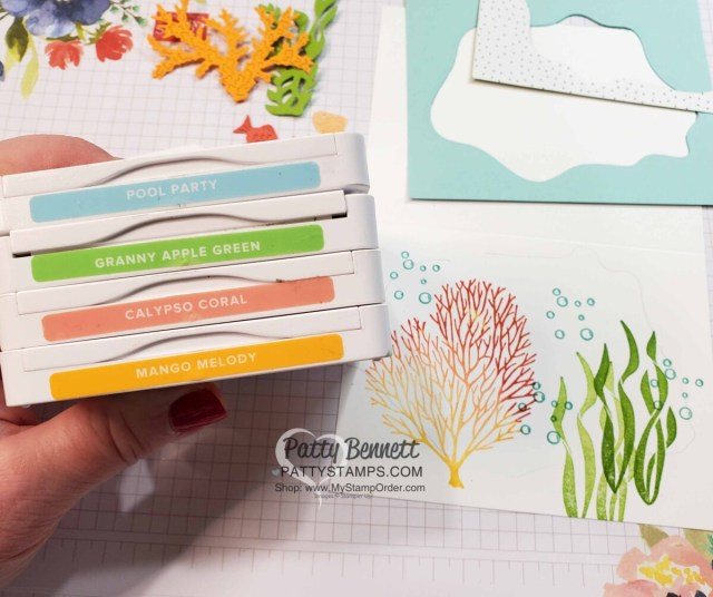 Color Combo for Stampin' Up! Seascape Bundle / Layering Diorama dies card