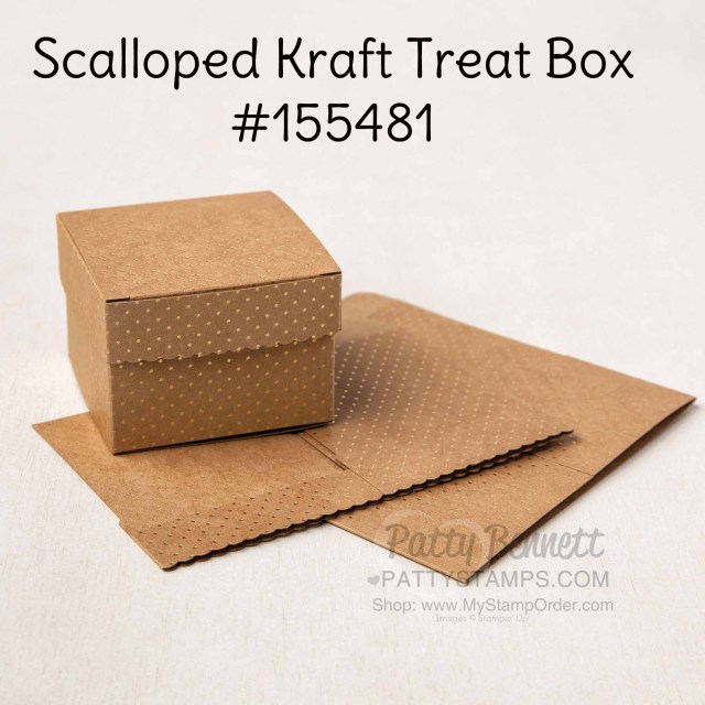 155481 Stampin' UP! Scalloped Kraft Treat boxes for gift giving. www.PattyStamps.com
