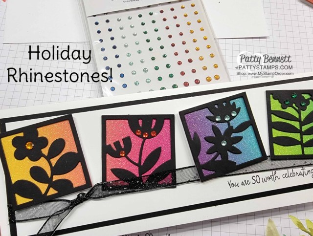 Slimline Card Idea featuring Stampin' Up! Floral Squares dies in black, All Squared Away bundle, Holiday Rhinestones and rainbow glimmer paper.