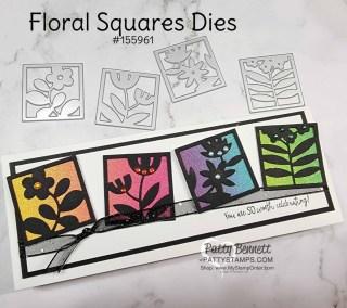 Floral Squares Rainbow Glimmer Slimline Card