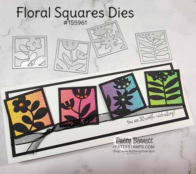 Slimline Card Idea featuring Stampin' Up! Floral Squares dies in black and rainbow glimmer paper.
