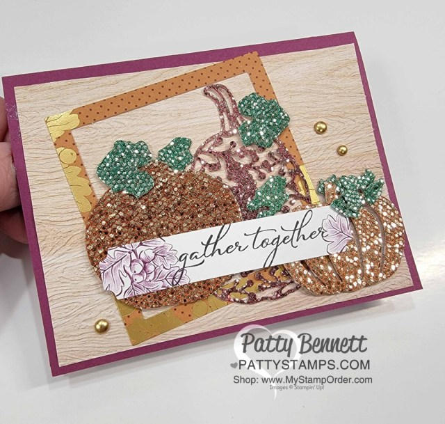 Color Be Dazzling glitter paper from Stampin' UP! Sale-a-Bration 2021 with Spritzers and ink for a beautiful Detailed Pumpkin dies card. Patty Bennett