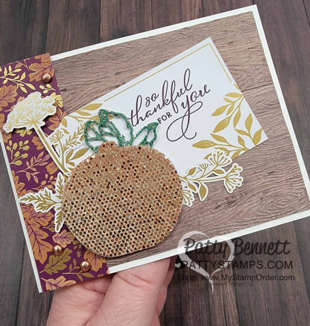 Fall Card Idea featuring Stampin' UP! Blackberry Beauty Ephemera pack and Detailed Pumpkin dies die cut with colored Be Dazzling glitter paper! by Patty Bennett www.PattyStamps.com