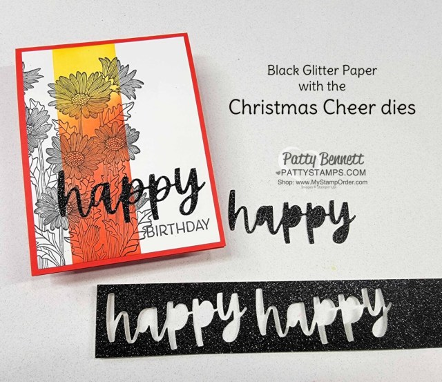 Card Idea and Ink Blending tips with Stampin' Up! Blending Brushes featuring Daisy Garden Background stamp and Christmas Cheer HAPPY die cut. by Patty Bennett