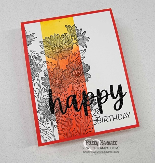 Ink Blending tips with Stampin' Up! Blending Brushes featuring Daisy Garden Background stamp and Christmas Cheer HAPPY die cut. by Patty Bennett