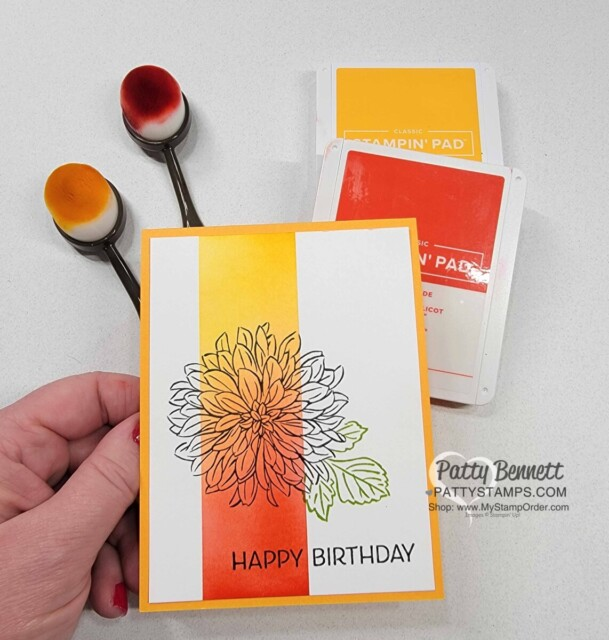 Easy Card Idea and Ink Blending tips with Stampin' Up! Blending Brushes featuring Delicate Dahlias Sale-a-Bration stamp set. Video tutorial by Patty Bennett