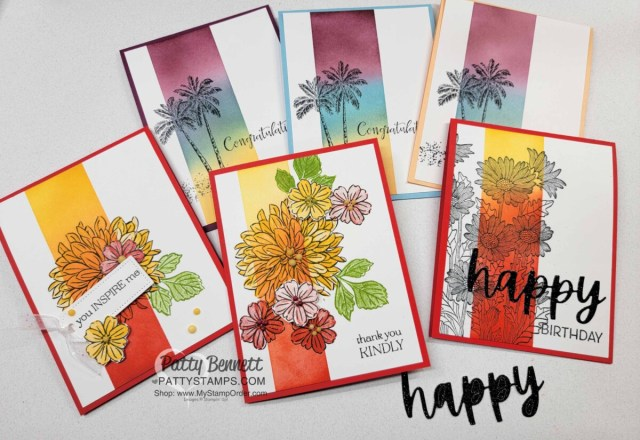 Card Ideas and Ink Blending tips with Stampin' Up! Blending Brushes featuring Delicate Dahlias Sale-a-Bration stamp set and Timeless Tropical set. Video tutorial by Patty Bennett