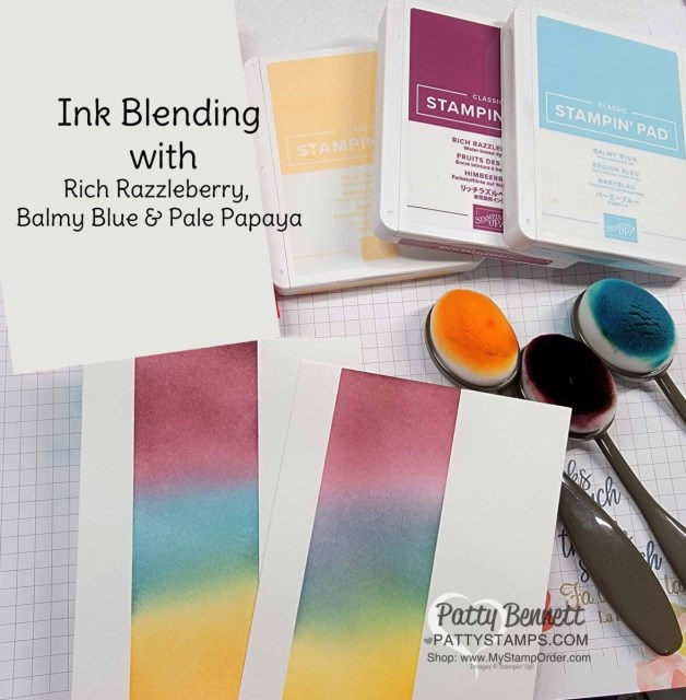 Color combo for the Stampin' Up! Blending Brushes Ink Blending Tips and the Timeless Tropical stamp set - from Patty Bennett