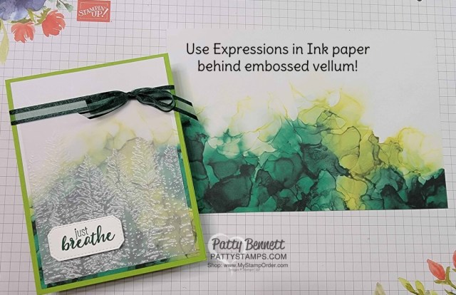 Expressions in Ink designer paper background for card created with embossed vellum and Evergreen Forest embossing folder by Patty Bennett
