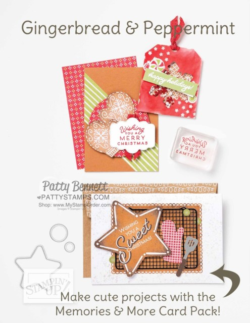 Stampin' Up! Gingerbread and Peppermint suite of Christmas crafting supplies including Memories & More cards.