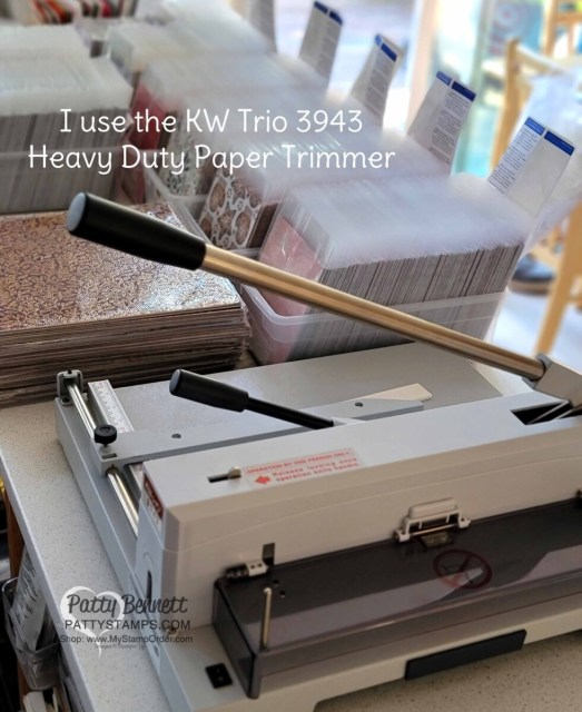 How to do a Paper Share, step 5:  cut all of the 12x12 paper into 6x6 using my KW Trio heavy duty paper cutter