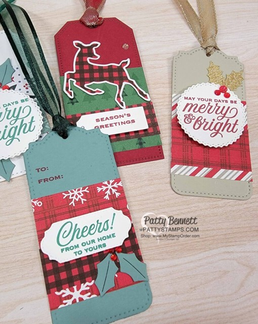 Create quick and easy Christmas gift tags with the Peaceful Prints designer paper and Tidings & Trimmings bundle from Stampin' UP!