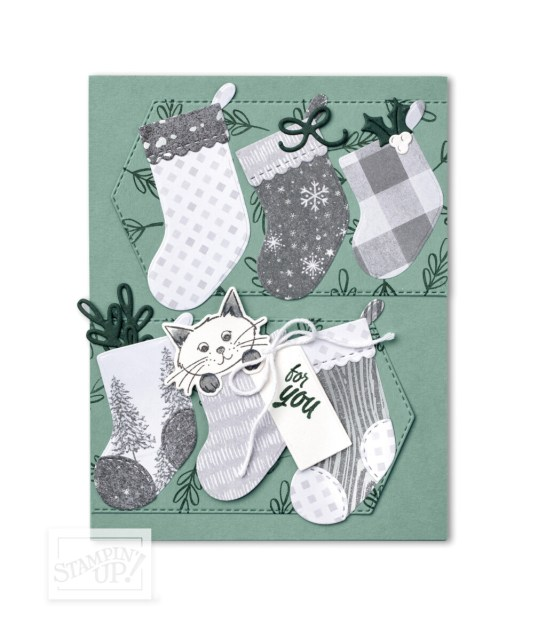 Sweet Stockings Suite Christmas Card Making and crafting supplies from Stampin' Up! featuring Peaceful Prints designer paper