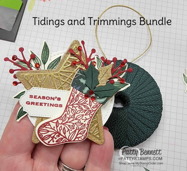 Stamp stocking and die cut sprigs to make Cute Christmas Wreath Ornament idea with a spool of ribbon and the Stampin' Up! Tidings and Trimmings bundle. DIY Christmas Craft idea!