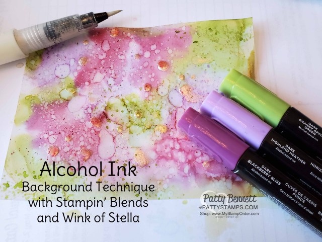 Alcohol ink background technique with Stampin' Blends markers and Wink of Stella!