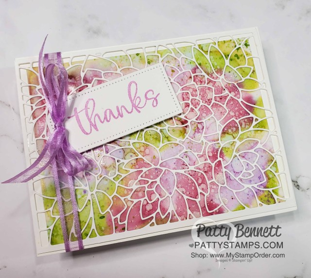 Alcohol ink background technique card idea featuring Stampin' Up! Potted Succulents die overlay and Stampin' Blends markers, by Patty Bennett www.PattyStamps.com