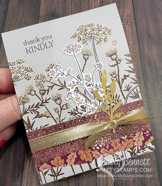 Fall Stampin' UP! card idea featuring Blackberry Beauty designer paper and Ephemera pack by Patty Bennett, www.PattyStamps.com