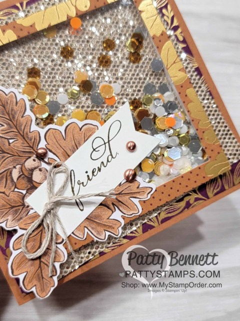 Stampin' Up! Blackberry Beauty Ephemera pack Shaker Card idea with Be Dazzling glitter paper and Sequins for Everything.