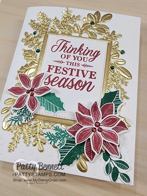 Gold Foil Merriest Frames Hybrid Embossing Folder card idea with Holiday Rhinestones, by Patty Bennett