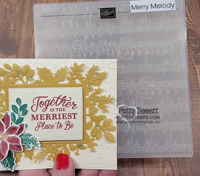 Merriest Frames Hybrid Embossing Folder Christmas Card idea featuring Merry Melody music embossing folder background and Shimmery Gold Vellum, by Patty Bennett