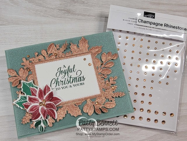 Rose Gold paper die cut and embossed with the Merriest Frames Hybrid Embossing Folder! Christmas card idea by Patty Bennett