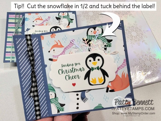 Penguin Place Book Binding Fun Fold card featuring Stampin' Up! Sale-a-Bration Penguin Playmates designer paper and wonderful snowflakes, by Patty Bennett