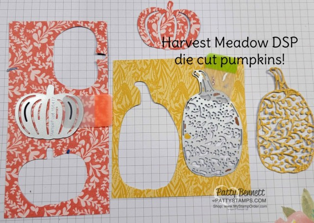 Detailed Pumpkin dies featuring Harvest Meadow designer paper for fall cards. www.PattyStamps.com