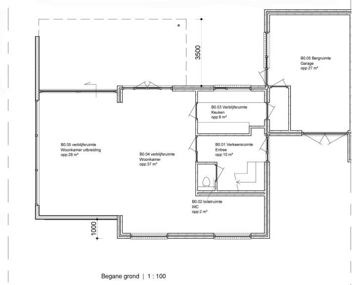 Plattegrond van de nieuwe indeling na het uitbreiden vergroten van de woning. Architect Enschede Markelo Hengelo Haaksbergen Almelo Oldenzaal Borne.