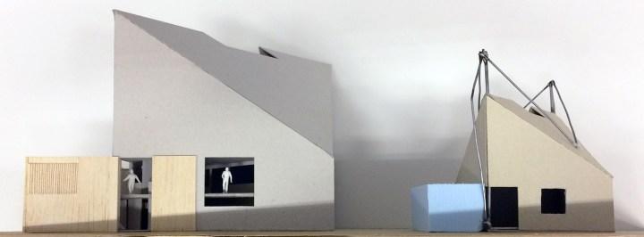 Twee maquettes van Arque klimcentrum