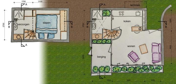 De Tiny House plattegronden, de linkerplattegrond geeft de indeling van de kelder weer met de sanitaire en slaap voorzieningen. De rechter plattegrond is van de begane grond en laat de kook, eet en leefplek zien. Architect Enschede Markelo Hengelo Haaksbergen Almelo Oldenzaal Borne