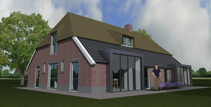 Verbouw boerderij Kluunvenneweg te Markelo, nieuwe achter en zijgevel. Architect Enschede Markelo Hengelo Haaksbergen Almelo Oldenzaal Borne