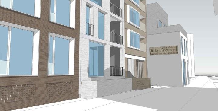 Nieuwbouw appartementen Bruningmijer te Enschede kijkend in de Niermansgang. Architect Enschede Markelo Hengelo Haaksbergen Almelo Oldenzaal Borne