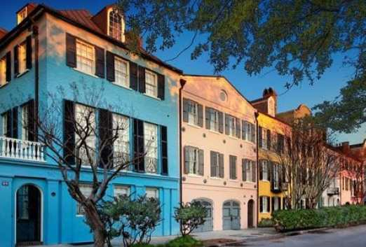 Rainbow Row is the name for a series of thirteen colorful historic houses on East Bay Street in Charleston, South Carolina. It represents the longest cluster of Georgian row houses in the United States.
