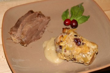 Smoked goose with savory bread pudding