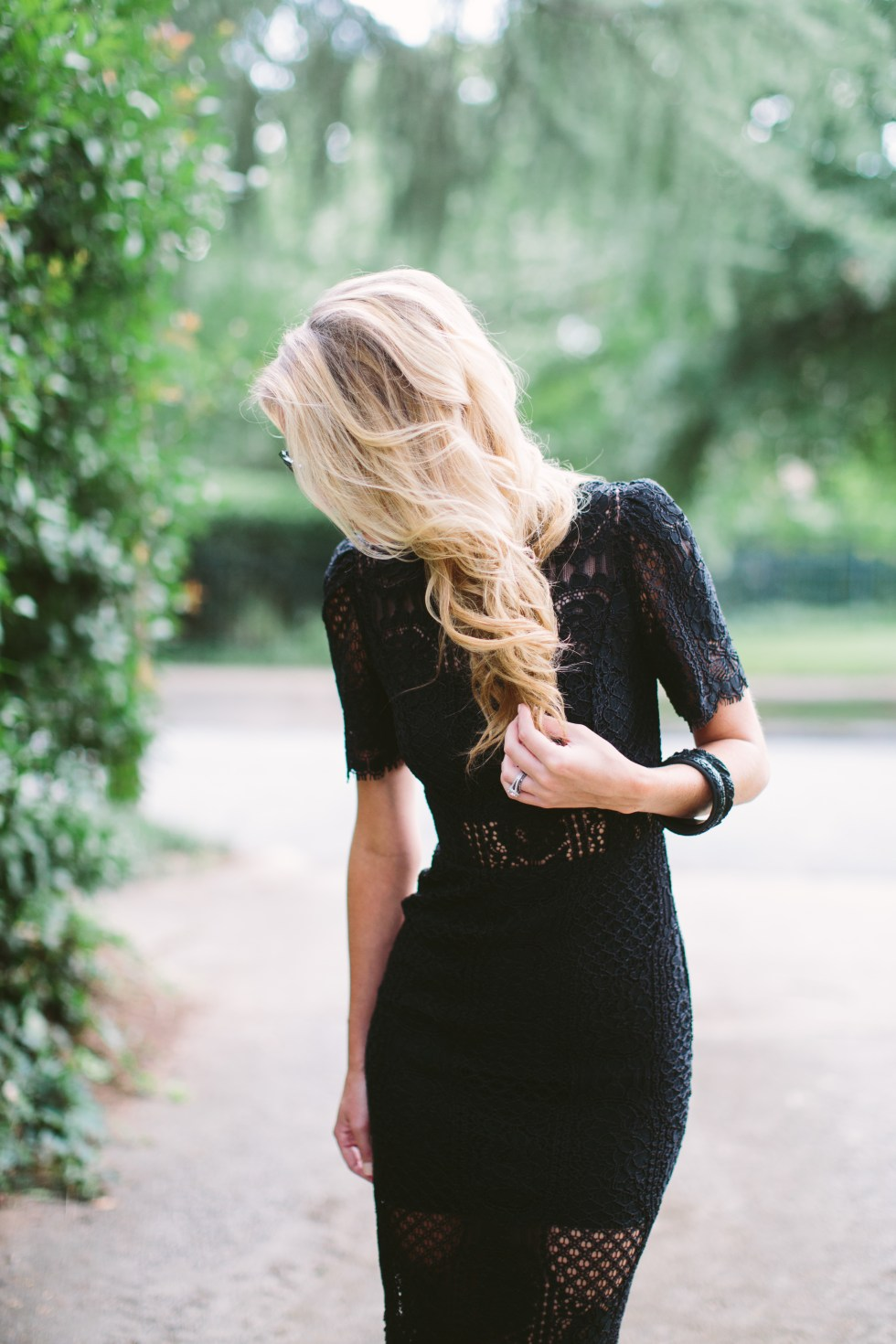 Alexis black lace dress on paularallis.com