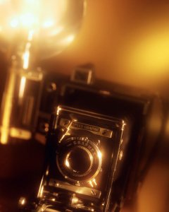 old camera with flash