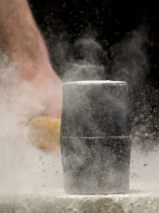 mallet hitting stone