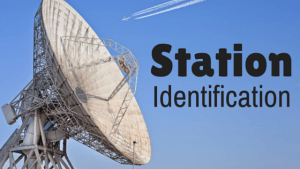 satellite dish with title station identification