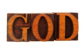 God woodblock letters