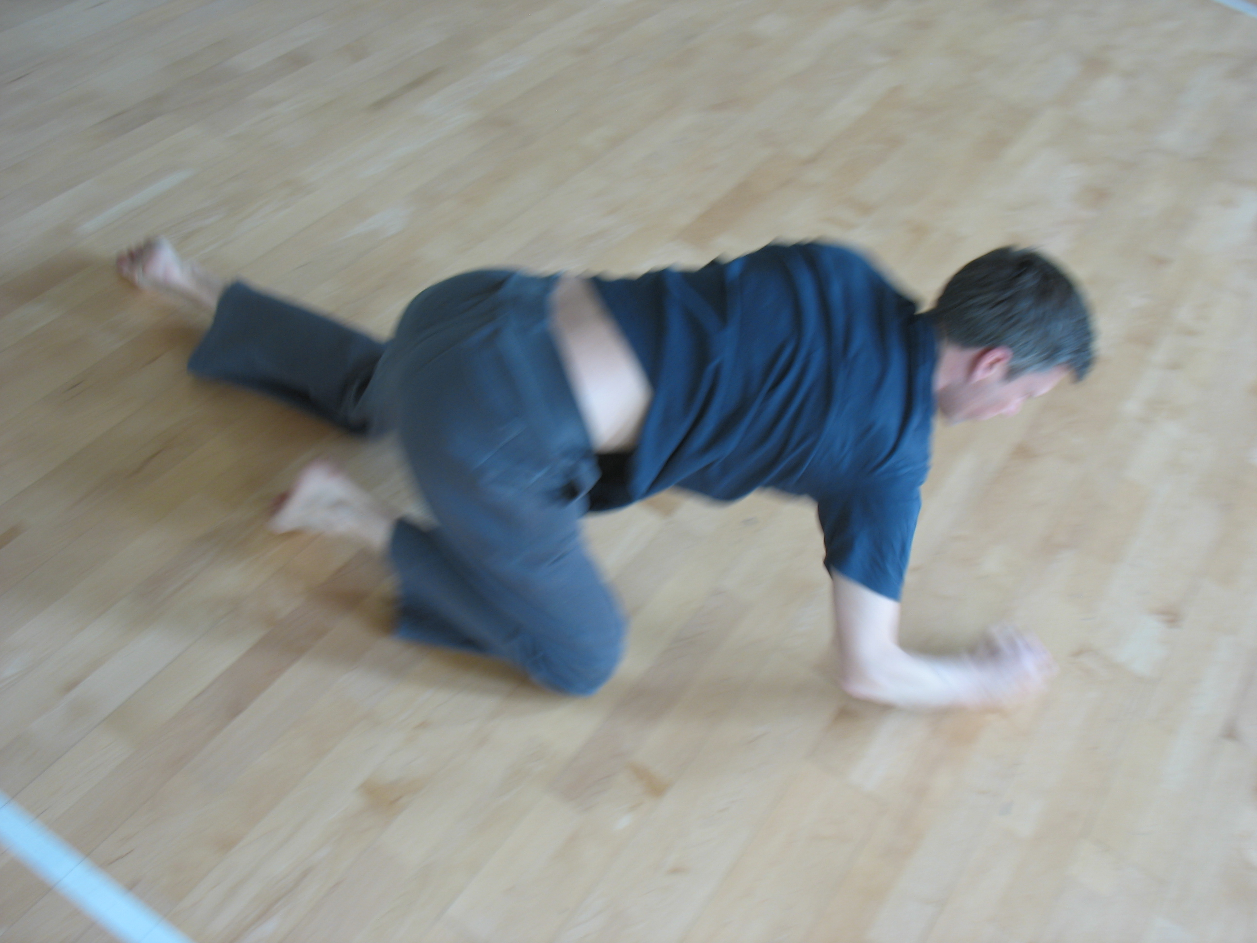 Man moving on the floor