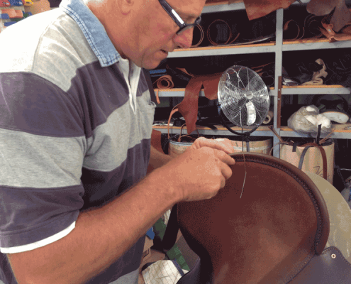 image of Paul Buckland making an Half Breed saddle