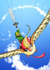 Link riding Pidgeot