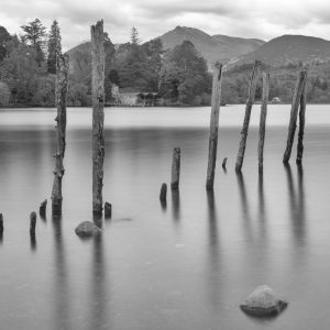 Boathouse on Derwent Water in Monochrome