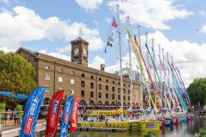 Clipper Yachts lined up in St Katharine's Dock London